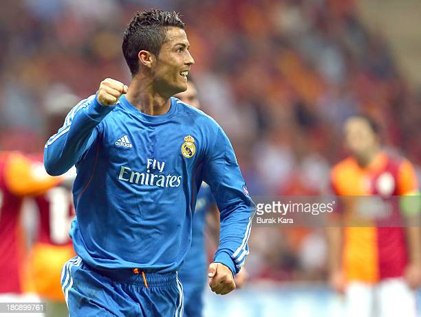 Cristiano Ronaldo of Real Madrid celebrates his goal against Galatasaray during UEFA Champions League Group B match at the Ali Sami Yen Area on...