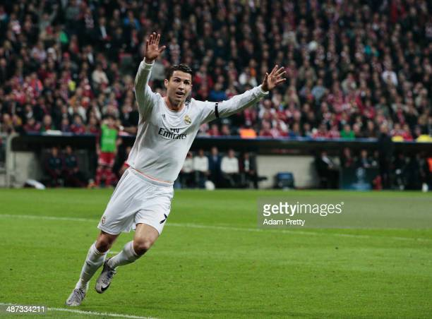 Cristiano Ronaldo of Real Madrid celebrates his goal during the UEFA Champions League semifinal second leg match between FC Bayern Muenchen and Real...
