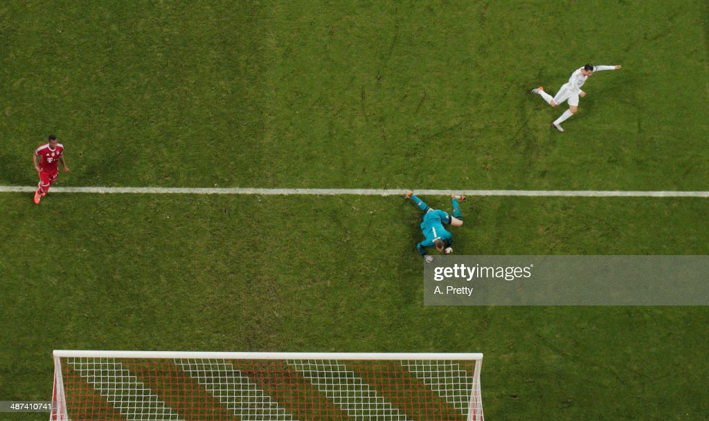 Cristiano Ronaldo of Real Madrid celebrates his goal during the UEFA Champions League semi-final second leg match between FC Bayern Muenchen and Real Madrid at Allianz Arena on April 29, 2014 in Munich, Germany.