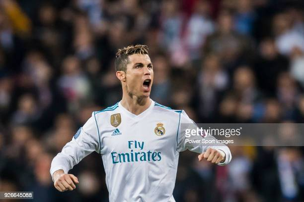 Cristiano Ronaldo of Real Madrid celebrates his goal during the UEFA Champions League 201718 Round of 16 match between Real Madrid vs Paris Saint...