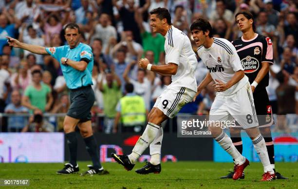 Cristiano Ronaldo of Real Madrid celebrates his goal with Kaka during La Liga match between Real Madrid and Deportivo La Coruna at Estadio Santiago...