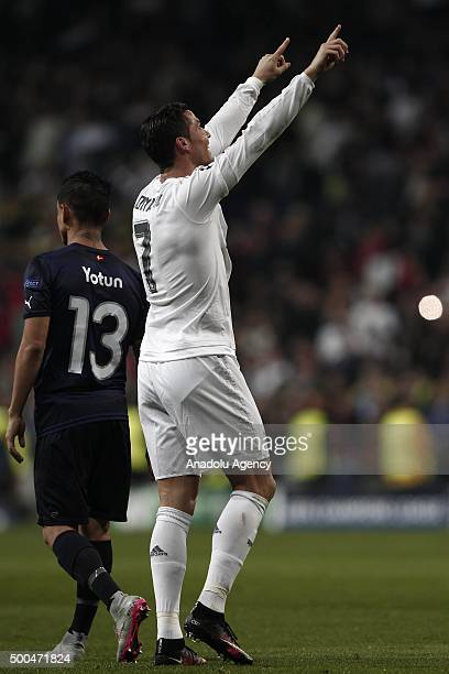 Cristiano Ronaldo of Real Madrid celebrates his score during the UEFA Champions League Group A match between Real Madrid CF and Malmo FF at the...