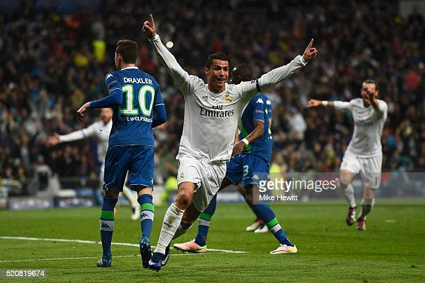 Cristiano Ronaldo of Real Madrid celebrates his second goal during the UEFA Champions League quarter final second leg match between Real Madrid CF...