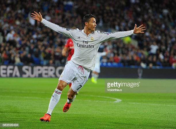 Cristiano Ronaldo of Real Madrid celebrates his second goal during the UEFA Super Cup Final between Real Madrid CF and Sevilla FC at the Cardiff City...
