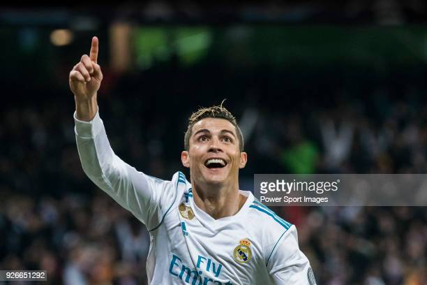 Cristiano Ronaldo of Real Madrid celebrates his second goal during the UEFA Champions League 201718 Round of 16 match between Real Madrid vs Paris...