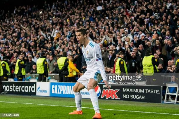 Cristiano Ronaldo of Real Madrid celebrates his second goal during the UEFA Champions League 2017-18 Round of 16 match between Real Madrid vs Paris...
