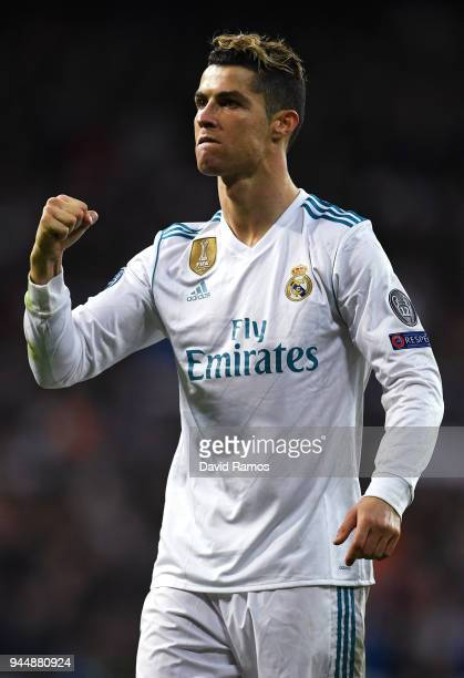 Cristiano Ronaldo of Real Madrid celebrates his side going through to the SemiFinals of the UEFA Champions League after the UEFA Champions League...