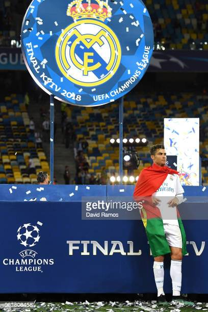 Cristiano Ronaldo of Real Madrid celebrates his sides victory in the UEFA Champions League Final between Real Madrid and Liverpool at NSC Olimpiyskiy...