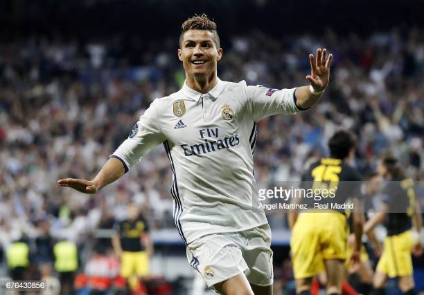 Cristiano Ronaldo of Real Madrid celebrates his team's second goal during the UEFA Champions League Semi Final first leg match between Real Madrid CF...