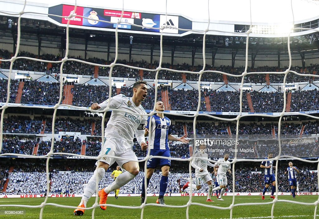 Cristiano Ronaldo of Real Madrid celebrates his team's second goal during the La Liga match between Real Madrid and Deportivo Alaves at Estadio Santiago Bernabeu on February 24, 2018 in Madrid, Spain.