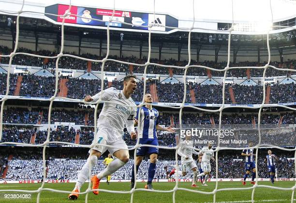 Cristiano Ronaldo of Real Madrid celebrates his team's second goal during the La Liga match between Real Madrid and Deportivo Alaves at Estadio...