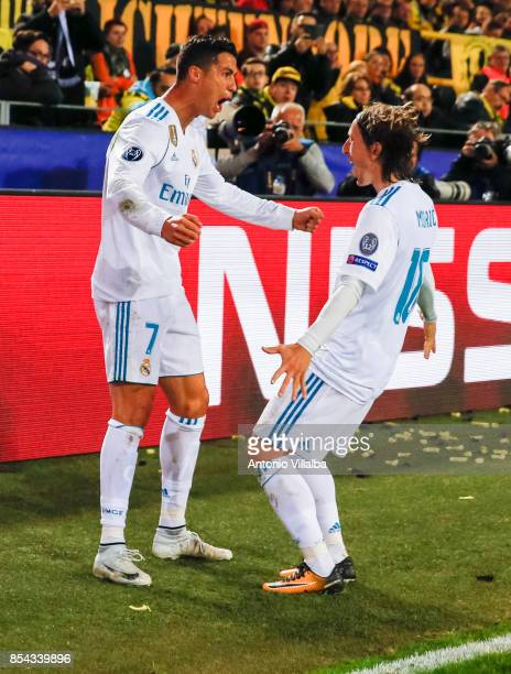 Cristiano Ronaldo of Real Madrid celebrates is second goal whit Luka Modric during the UEFA Champions League group H match between Borussia Dortmund...