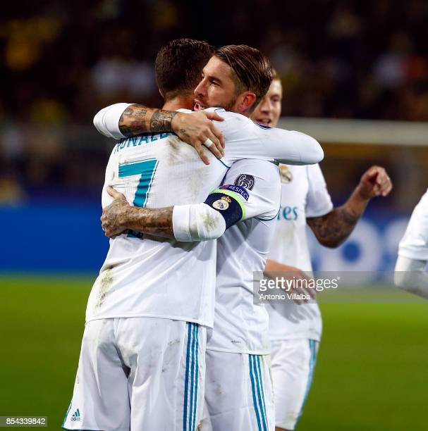 Cristiano Ronaldo of Real Madrid celebrates is second goal whit Sergio Ramos during the UEFA Champions League group H match between Borussia Dortmund...