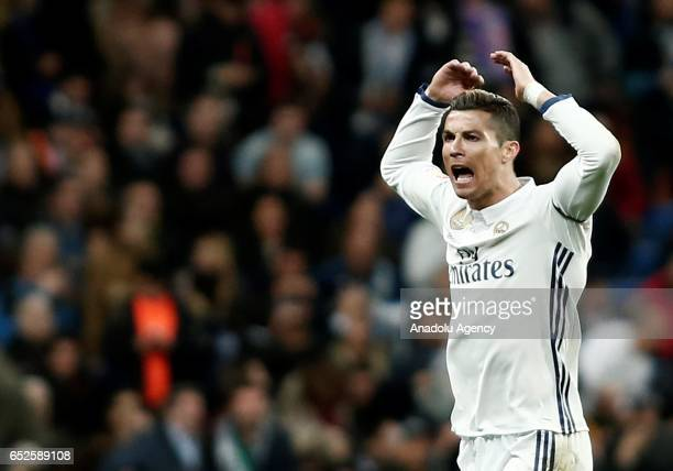 Cristiano Ronaldo of Real Madrid celebrates scoring a goal during the La Liga football match between Real Madrid and Real Betis at Santiago Bernabeu...