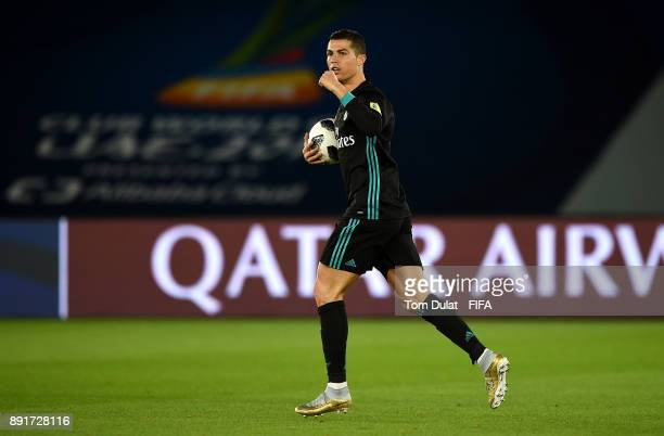 Cristiano Ronaldo of Real Madrid celebrates scoring a goal during the FIFA Club World Cup UAE 2017 semi final match between Al Jazira and Real Madrid...