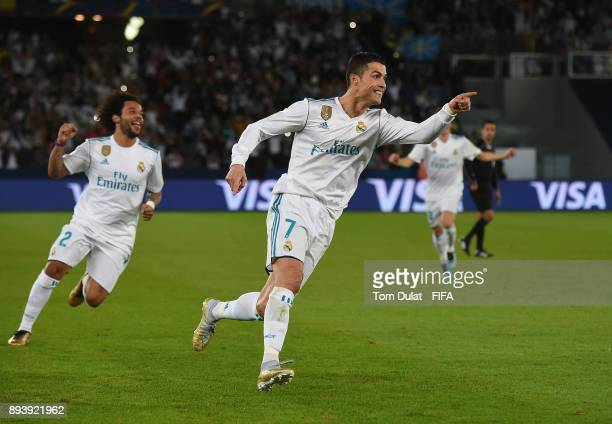 Cristiano Ronaldo of Real Madrid celebrates scoring a goal during the FIFA Club World Cup UAE 2017 final match between Gremio and Real Madrid at...