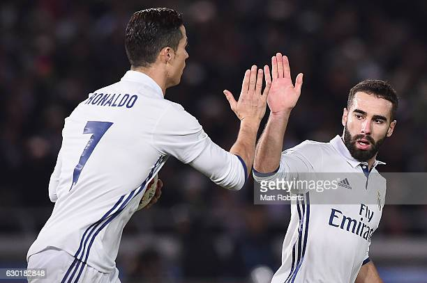 Cristiano Ronaldo of Real Madrid celebrates scoring a goal with Daniel Carvajal during the FIFA Club World Cup final match between Real Madrid and...