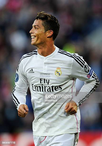 Cristiano Ronaldo of Real Madrid celebrates scoring during the UEFA Super Cup Final between Real Madrid and Sevilla at the Cardiff City Stadium in...