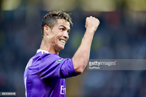 Cristiano Ronaldo of Real Madrid celebrates scoring first goal during the UEFA Champions League Final match between Real Madrid and Juventus at the...