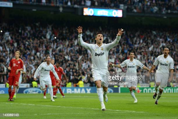 Cristiano Ronaldo of Real Madrid celebrates scoring from the penalty spot during the UEFA Champions League Semi Final second leg between Real Madrid...