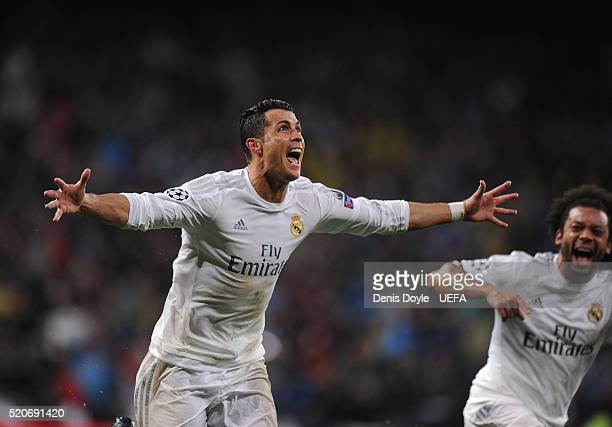Cristiano Ronaldo of Real Madrid celebrates scoring his 3rd goal during the UEFA Champions League Quarter Final Second Leg match between Real Madrid...