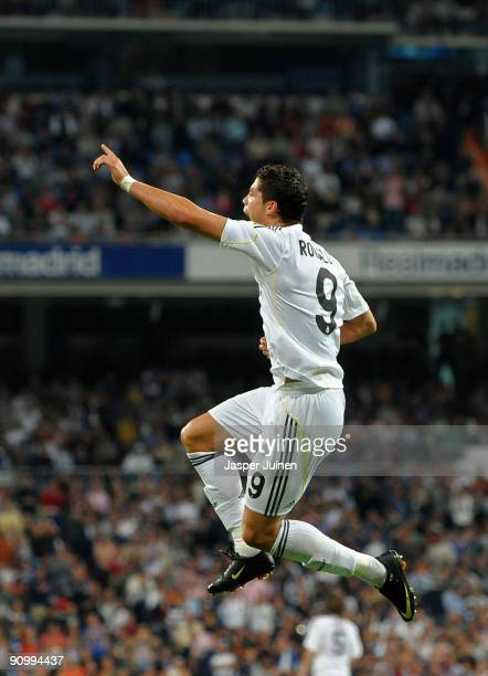 Cristiano Ronaldo of Real Madrid celebrates scoring his second goal during the La Liga match between Real Madrid and Xerez at the Estadio Santiago...