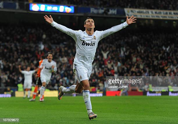 Cristiano Ronaldo of Real Madrid celebrates scoring his sides opening goal during the La Liga match between Real Madrid and Valencia at Estadio...
