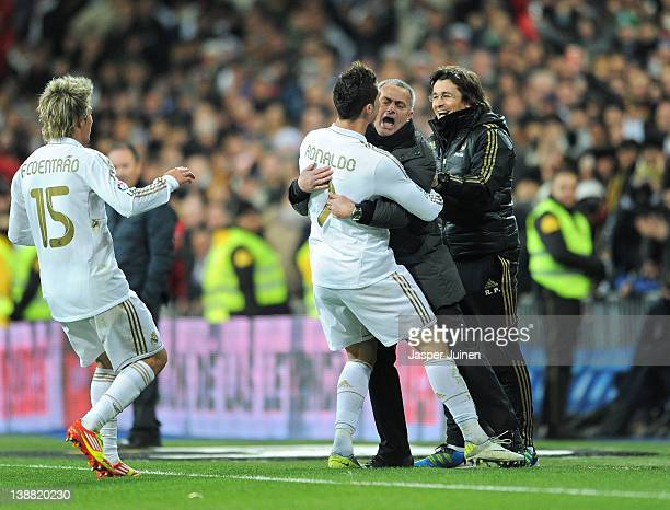 Cristiano Ronaldo of Real Madrid celebrates scoring his sides second goial with head coach Jose Mourinho of Real Madrid during the la Liga match...