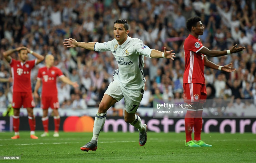 Cristiano Ronaldo of Real Madrid celebrates scoring his sides second goal during the UEFA Champions League Quarter Final second leg match between Real Madrid CF and FC Bayern Muenchen at Estadio Santiago Bernabeu on April 18, 2017 in Madrid, Spain.