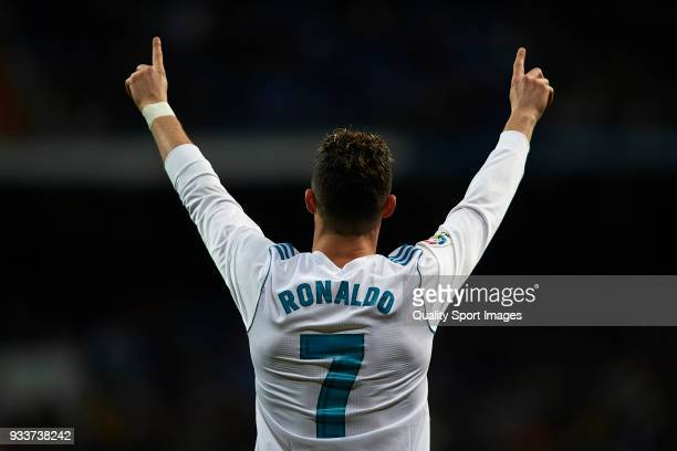 Cristiano Ronaldo of Real Madrid celebrates scoring his team's first goal during the La Liga match between Real Madrid and Girona at Estadio Santiago...