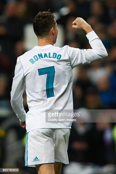 Cristiano Ronaldo of Real Madrid celebrates scoring his team's fourth goal during the La Liga match between Real Madrid and Girona at Estadio...