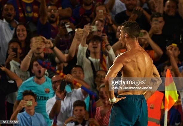 Cristiano Ronaldo of Real Madrid celebrates scoring his team's second goal during the Supercopa de Espana Supercopa Final 1st Leg match between FC...