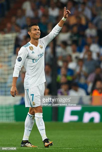 Cristiano Ronaldo of Real Madrid celebrates scoring his team's second goal during the UEFA Champions League group H match between Real Madrid and...