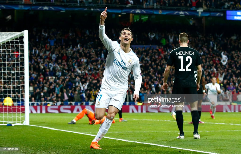 Cristiano Ronaldo of Real Madrid celebrates scoring the 2nd Real Madrid goal during the UEFA Champions League Round of 16 First Leg match between Real Madrid and Paris Saint-Germain at Bernabeu on February 14, 2018 in Madrid, Spain.
