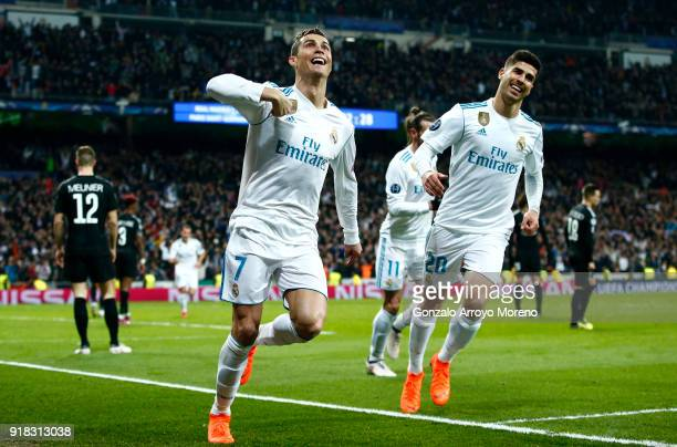 Cristiano Ronaldo of Real Madrid celebrates scoring the 2nd Real Madrid goal with Marco Asensio of Real Madrid during the UEFA Champions League Round...