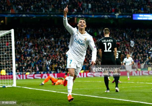 Cristiano Ronaldo of Real Madrid celebrates scoring the 2nd Real Madrid goal during the UEFA Champions League Round of 16 First Leg match between...