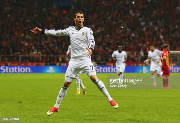 Cristiano Ronaldo of Real Madrid celebrates scoring the opening goal during the UEFA Champions League quarterfinal second leg match between...
