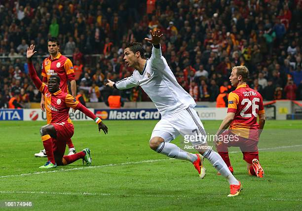 Cristiano Ronaldo of Real Madrid celebrates scoring the opening goal during the UEFA Champions League Quarter Final match between Galatasaray AS and...