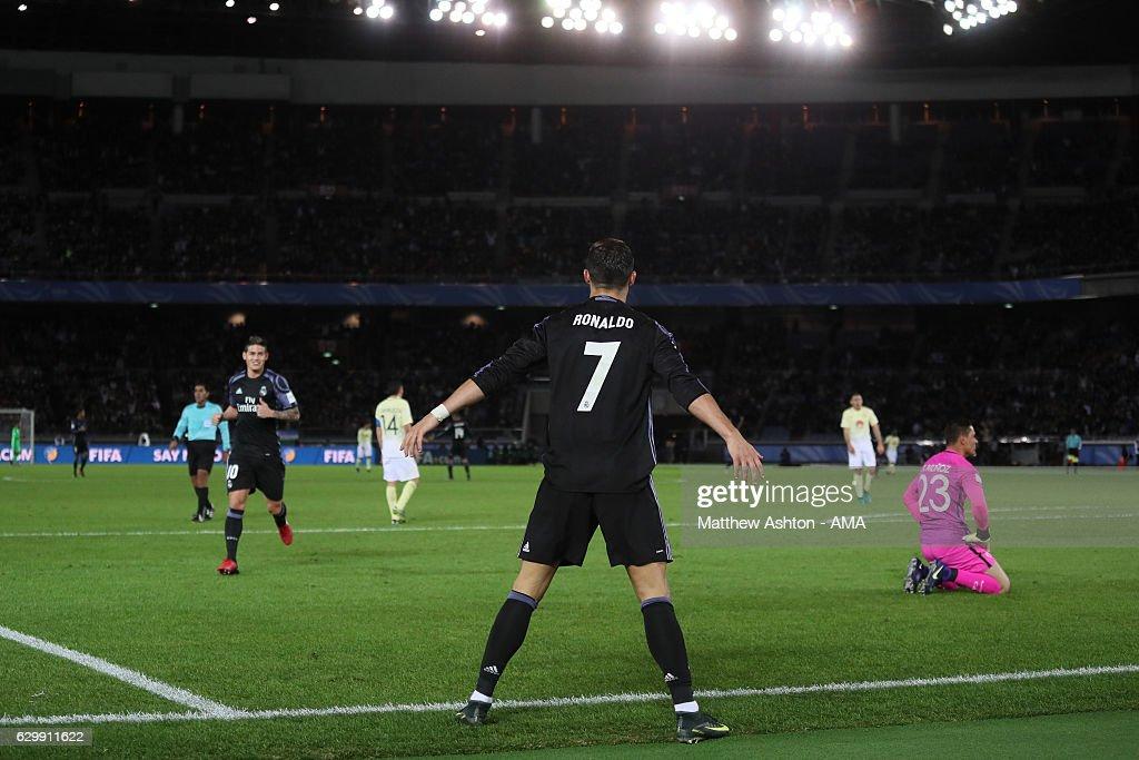 Cristiano Ronaldo of Real Madrid celebrates scoring the second goal to make the score 0-2 during the FIFA Club World Cup Semi Final match between Club America and Real Madrid at International Stadium Yokohama on December 15, 2016 in Yokohama, Japan.