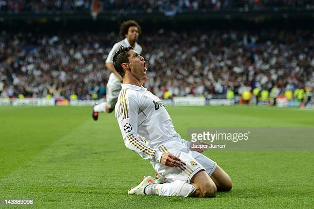 Cristiano Ronaldo of Real Madrid celebrates scoring their second goal during the UEFA Champions League Semi Final second leg between Real Madrid CF...