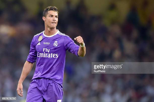 Cristiano Ronaldo of Real Madrid celebrates scoring third goal during the UEFA Champions League Final match between Real Madrid and Juventus at the...