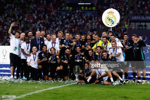 Cristiano Ronaldo of Real Madrid celebrates the win with his team during the UEFA Super Cup match between Real Madrid and Manchester United at...
