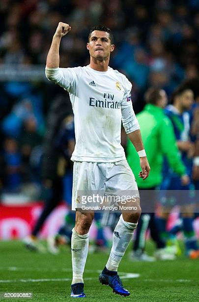 Cristiano Ronaldo of Real Madrid celebrates victory and reaching the semi finals after the UEFA Champions League quarter final second leg match...