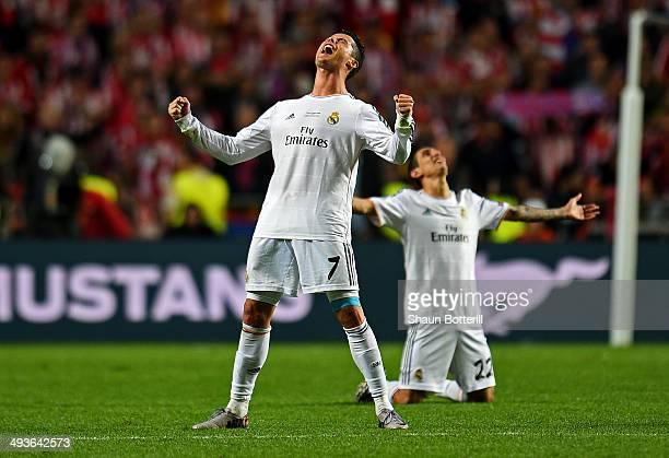Cristiano Ronaldo of Real Madrid celebrates victory in the UEFA Champions League Final between Real Madrid and Atletico de Madrid at Estadio da Luz...