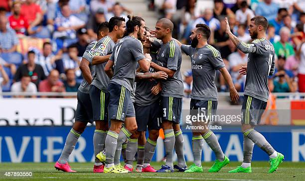 Cristiano Ronaldo of Real Madrid celebrates whit his teammates after scoring a goal during the La Liga match between Espanyol and Real Madrid at...