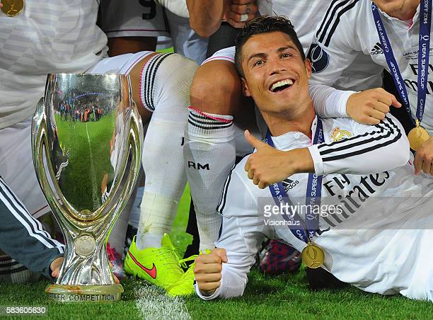 Cristiano Ronaldo of Real Madrid celebrates winning the UEFA Super Cup Final between Real Madrid CF and Sevilla FC at the Cardiff City Stadium in...