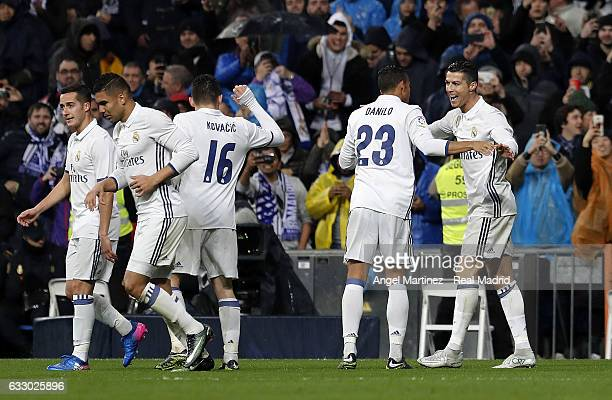 Cristiano Ronaldo of Real Madrid celebrates with Danilo after scoring their team's second goal during the La Liga match between Real Madrid and Real...