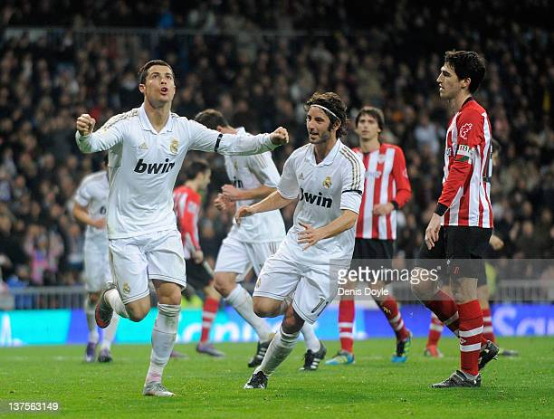 Cristiano Ronaldo of Real Madrid celebrates with Esteban Granero after scoring Real's 3rd goal during the La Liga match between Real Madrid and...