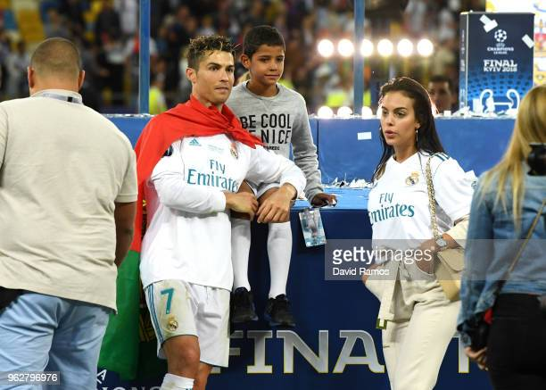 Cristiano Ronaldo of Real Madrid celebrates with his family following his sides victory in the UEFA Champions League Final between Real Madrid and...