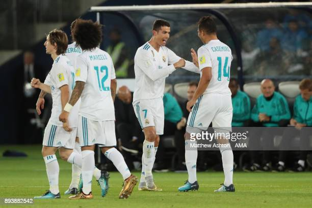 Cristiano Ronaldo of Real Madrid celebrates with his teammate Casemiro after scoring a goal to make it 01 during the FIFA Club World Cup UAE 2017...